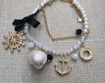White Bead Bracelet with Seashell, Anchor