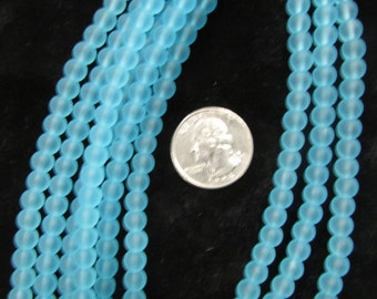 Simulated Sea Glass 6mm Rounds Lt Turquoise