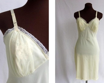 Vintage 60's Full Slip in Pastel Yellow Nylon with Chiffon and Lace Trim Size 36 / M
