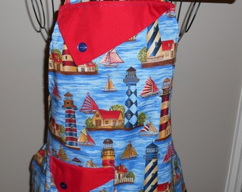 Lighthouses and Sailboats Women's Apron