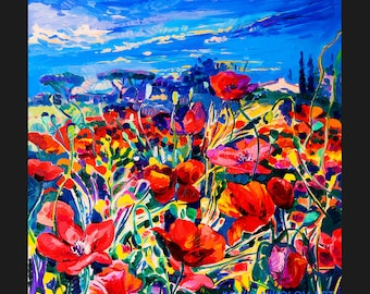 Original Oil Painting on Canvas - Poppy field 20x20 - Colorful Contemporary Wall Art - Landscape Spring by Ivailo Nikolov