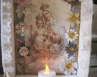 Vintage Style Shabby Chic Catholic Virgin Mary and Infant Jesus of Prague Mt. Carmel Altered Shrine