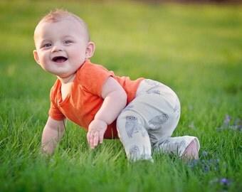 Organic Baby Leggings, baby leggings, baby legware, baby pants, Vintage Owls leggings//designed by MilliLee Organics