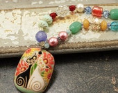 One of a Kind Cat Jewelry Unique Artisan Multi Color Cat Necklace