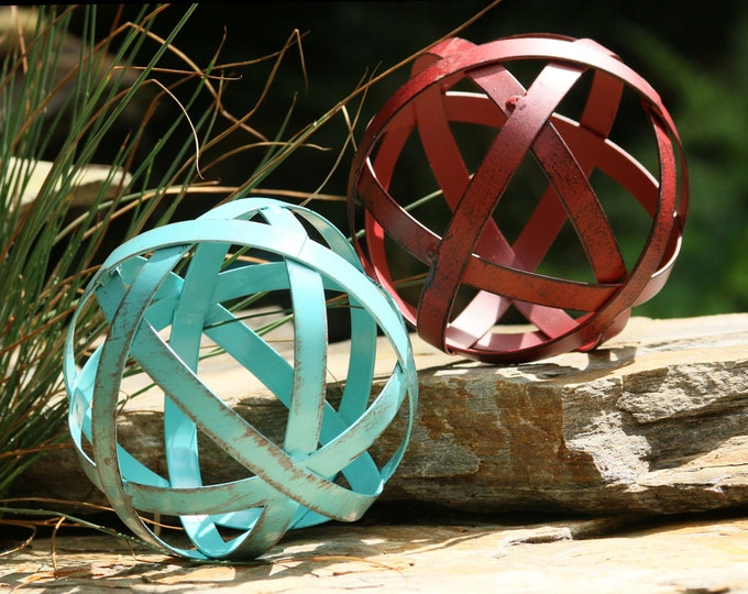 Nautical Metal Orbs For Home & Garden Decorating - Metal Band Ball Ornaments In Rustic Aged Aqua Or Rustic Red -weather Resistant Garden Art
