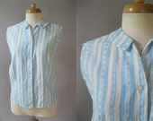 Vintage 50s Sleeveless Top - Summer Cotton Striped Blouse