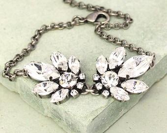 Bridal Bracelet,Swarovski Crystal Bracelet,Shabby Chic Bracelet,Bridesmaids Silver Bracelet,Bridal Crystal Bracelet Bridal Jewelry