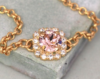 Blush Pink  Bracelet, Blush Swarovski Bracelet,Bridesmaids Blush Pink Bracelet,Vintage Pink Bracelet,Bridesmaids gift,Gift for Bridesmaids