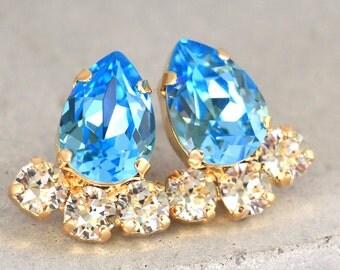 Aquamarine Stud Earrings,Swarovski Crystal Earrings,Aquamarine Bridal Earrings,Bridesmaids Swarovski Earrings,Christmas Gift for her