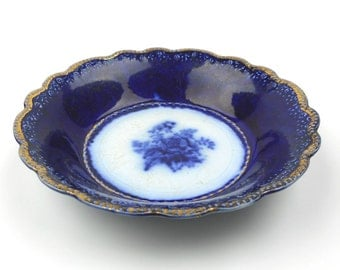 Antique Flow Blue and White Semi Porcelain Bowl 6 1/4 Inches Blue Rose Gridley with Gold Gilt Burslem England 1800s Collectible Home Decor
