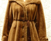 Vintage 50s-60s Career Originals TISSAVEL FUR Coat--Coveted FRENCH Fabric--French Simulated Fur--Leather accent--Size 12