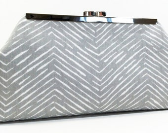 Clutch Purse - Grey White Chevron Herringbone
