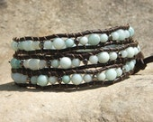 Leather Wrap Bracelet- Amazonite  and Gun Metal beads