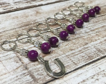 Magenta Knitting Markers- Snag Free Lucky Horseshoe Beaded Stitch Marker Set- Gift for Knitters