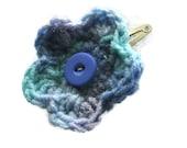 Blue Mint Purple Flower Hair Clip - Crochet - Handmade