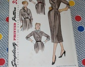 "1940s Vintage Simplicity Pattern 3477 Misses Fitted Dress Detachable Collar, Vestees, Cuffs Size 14, Bust 32"", Uncut, Factory Folds"