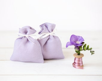 Lilac favor bags set 10 - Lilac gift bags - Lilac wedding favor - Wedding favor bags - Linen favor bags - linen pouches - Baby shower bags