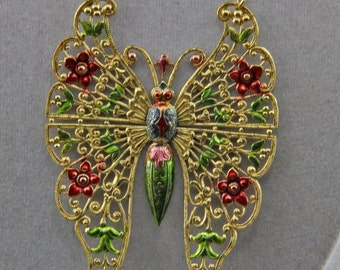 The Hand Painted Butterfly Art Jewelry Necklace