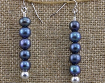 Silver and Blue  Iridescent  Glass Dangle Earrings