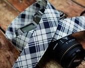 Navy Blue and Cream Plaid Camera Strap - fits Canon dSLR, Nikon dSLR etc - Preppy Camera Strap - Photographer Gift - Christmas Gift