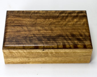 Valet Box - Keepsake Box in African Black Limba and African Shedua - 1143