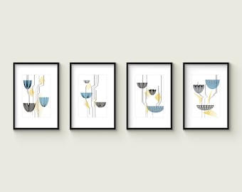 BLUE LOTUS - Set no.1 - Collection of (4) Giclee Prints - Abstract Mid Century Modern