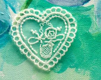 heart applique net lace vintage lace applique