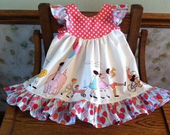 Girls Flutter Sleeve Children on Parade Up & Away Ruffle Dress, size 6-12 months - 5