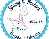 Cruise Ship Personalized Stickers - Wedding Stickers, Destination Wedding, Favor Labels, Envelope Seals, Tropical - Choice of Size