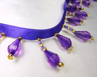 Royal Purple and Gold Short Beaded Fringe Trim for Costume Embellishment or Home Decorator Trim