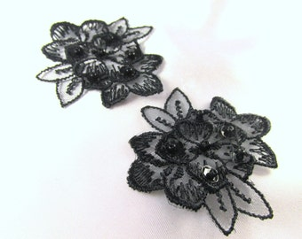 Pair of Black Lace Beaded and Sequined Flower Appliques 2 x 1.75 inches for Costume or Bridal Trim