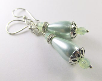 Mint Green Pearl and Chrysolite Opal Swarovksi Crystal Teardrop Bridal or Bridesmaid Earrings on Sterling Silver Wire