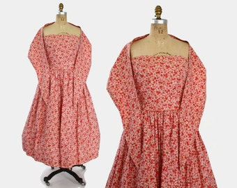 50s Strapless Floral DRESS with Built-In SHAWL / 1950s Designer Carolyn Schnurer 1950s Pink & Red Cotton
