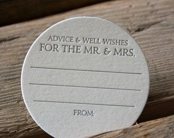 30 Advice and Well Wishes for the MR. and MRS. Coasters, modern design (Letterpress printed, 3.5 inches circle) perfect for weddings