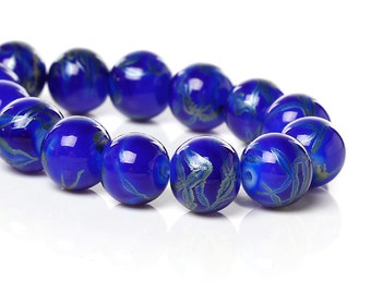 Strand of Glass Beads Azure Blue with Metallic Green Accents 10mm - 84 Beads- BD792