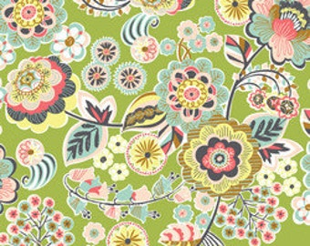 Modern Fabric Blend Fabrics Josephine Kimberling Natural Wonder Deco Park in Green One Yard