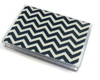 Card Case Mini Wallet Navy Chevron