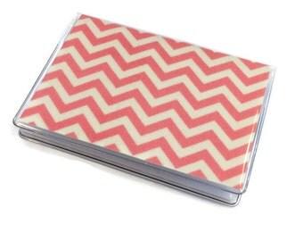Card Case Mini Wallet Pink Chevron