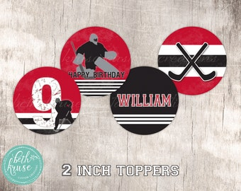 Hockey Party Age Specific Customized 2 inch Party Toppers by Beth Kruse Custom Creations