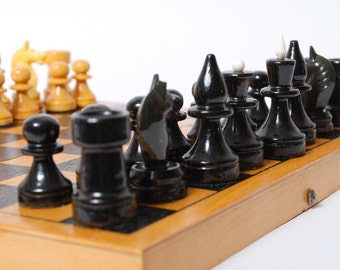 Set of vintage wood Chess, from Soviet Union USSR.