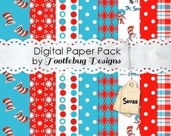 Seuss Digital Paper Pack - INSTANT DOWNLOAD