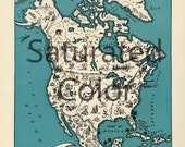 NORTH AMERICA Map Digital Download vintage picture map - DIY print & frame 8x10 orFor Pillows Totes Cards Wedding Paul Spener Johst Charming