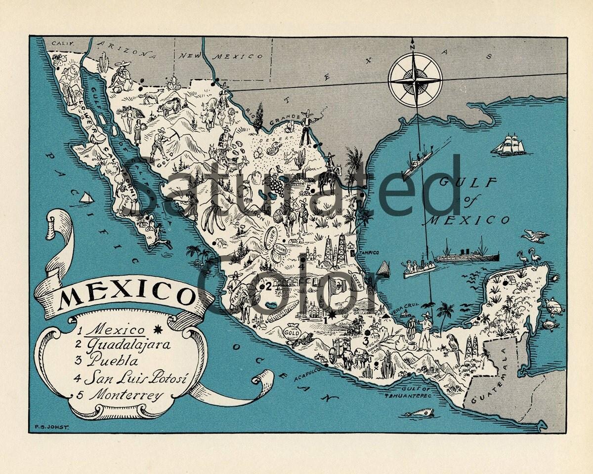 MEXICO Map Digital Download Vintage Picture Map DIY Print
