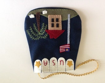 USA Patriotic Flag Ditty Bag Appliqued on Wool  JKB