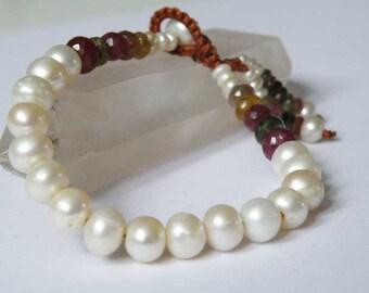 Freshwater Pearl bracelet - Ruby - Tourmaline - Tasseled - marcrame loop closing - gemstone jewelry - Tribal - Boho - Beach - Handmade