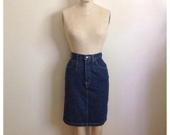 Vintage 80s dark denim high waisted skirt