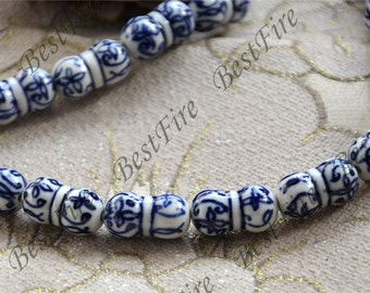 6 beads 10x18mm Charm Round White Porcelain Blue Flower ,Chinese Charm porcelain Beads