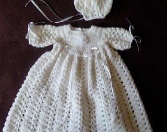 White Christening / Baptism Gown And Bonnet