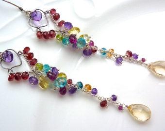 Heart Shaped Silver Filigree and Gemstone Cascade and Cluster Earrings . Beadwork chandelier earrings. Gemstone Jewelry.