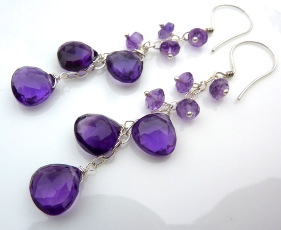 Lavender and  Deep Purple Amethyst Drop Earrings. Purple Cluster. Ready to ship. Fashion Chandelier.